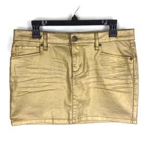 BCBGeneration Gold Metallic Mini Skirt Sz 28 NEW!